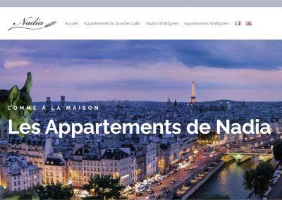 Création du site AppartNadia de location d'hébergement touristique à Paris